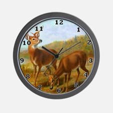 Deer by Lake Wall Clock