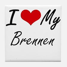 I Love My Brennen Tile Coaster
