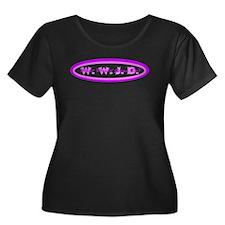 Purple Pink WWJD Women's Plus Size Dark T-Shirt