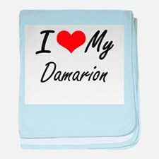 I Love My Damarion baby blanket