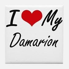 I Love My Damarion Tile Coaster