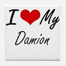 I Love My Damion Tile Coaster