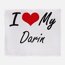 I Love My Darin Throw Blanket