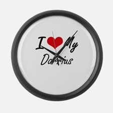 I Love My Darrius Large Wall Clock