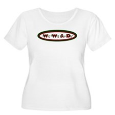 Green Red WWJD Women's Plus Size T-Shirt