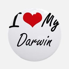 I Love My Darwin Round Ornament