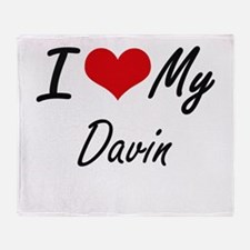 I Love My Davin Throw Blanket