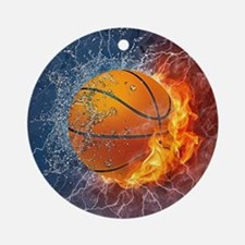 Flaming Basketball Ball Splash Round Ornament