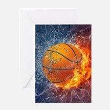 Flaming Basketball Ball Splash Greeting Cards