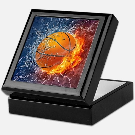 Flaming Basketball Ball Splash Keepsake Box