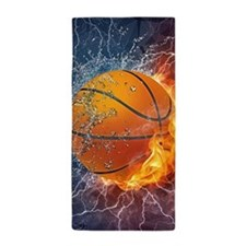 Flaming Basketball Ball Splash Beach Towel