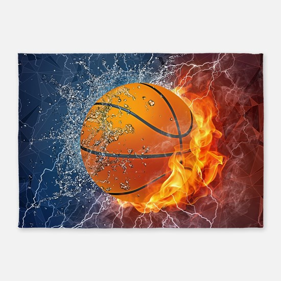 Flaming Basketball Ball Splash 5'x7'Area Rug
