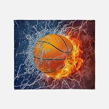 Flaming Basketball Ball Splash Throw Blanket
