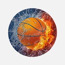 "Flaming Basketball Ball Splash 3.5"" Button (100 pa"