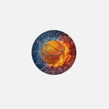 Flaming Basketball Ball Splash Mini Button