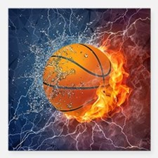 Flaming Basketball Ball Splash Square Car Magnet 3