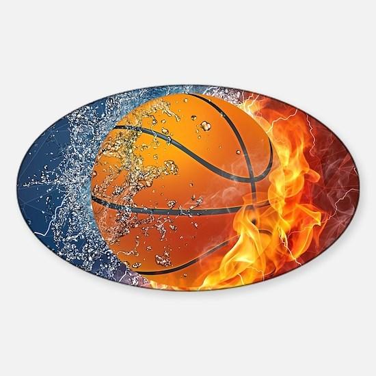 Flaming Basketball Ball Splash Decal