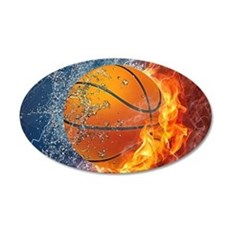 Flaming Basketball Ball Splash Wall Sticker