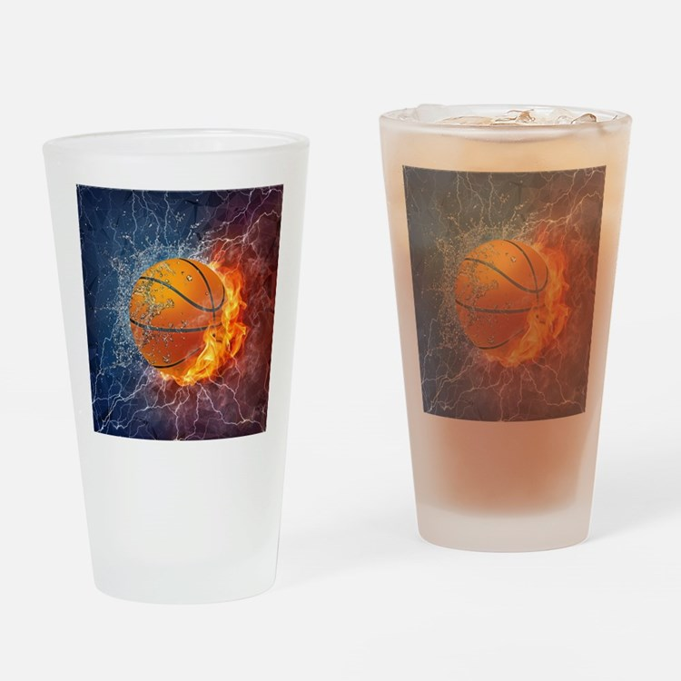 Flaming Basketball Ball Splash Drinking Glass