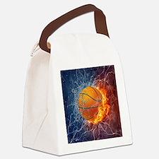 Flaming Basketball Ball Splash Canvas Lunch Bag