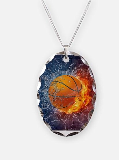 Flaming Basketball Ball Splash Necklace