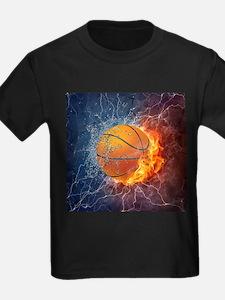 Flaming Basketball Ball Splash T-Shirt