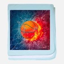Flaming Basketball Ball Splash baby blanket