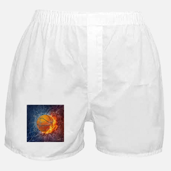 Flaming Basketball Ball Splash Boxer Shorts
