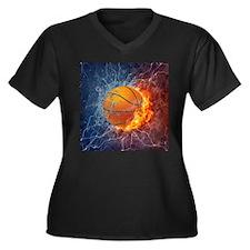 Flaming Basketball Ball Splash Plus Size T-Shirt