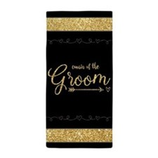Glitter Gift for Cousin of the Groom Beach Towel