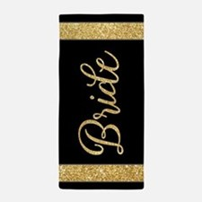 Black and Gold Sparkle Gift For Bride Beach Towel