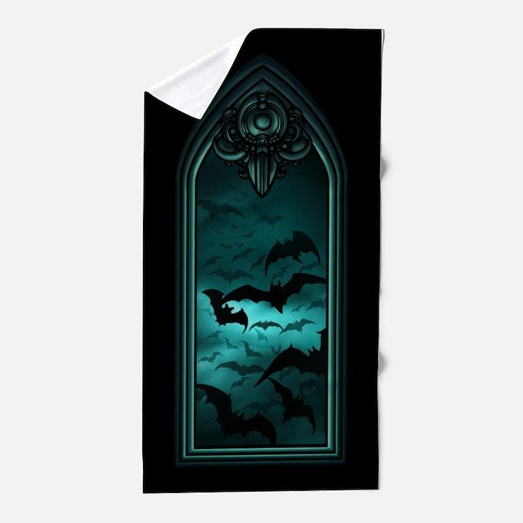 Gothic Bat Window 4 of 6 Beach Towel