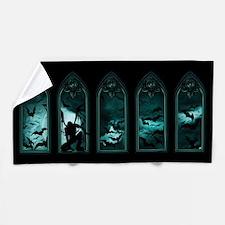 Gothic Bat Windows Beach Towel
