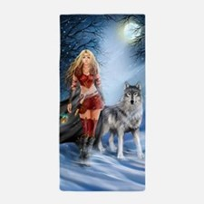 Warrior Woman And Wolf Beach Towel