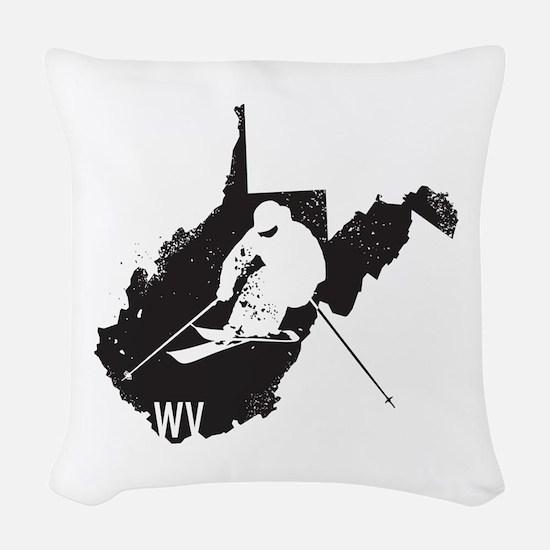 Ski West Virginia Woven Throw Pillow