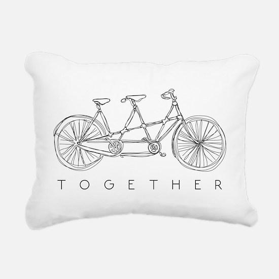 TOGETHER TANDEM BIKE Rectangular Canvas Pillow