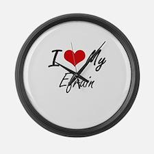I Love My Efrain Large Wall Clock