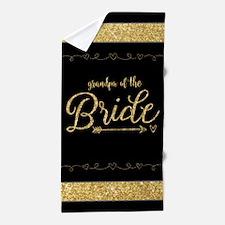 Gold Glitter Gift for Grandpa of the B Beach Towel