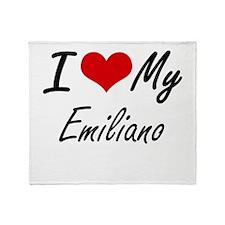 I Love My Emiliano Throw Blanket