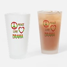 Peace Love Drama Drinking Glass
