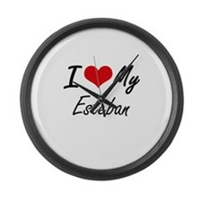 I Love My Esteban Large Wall Clock
