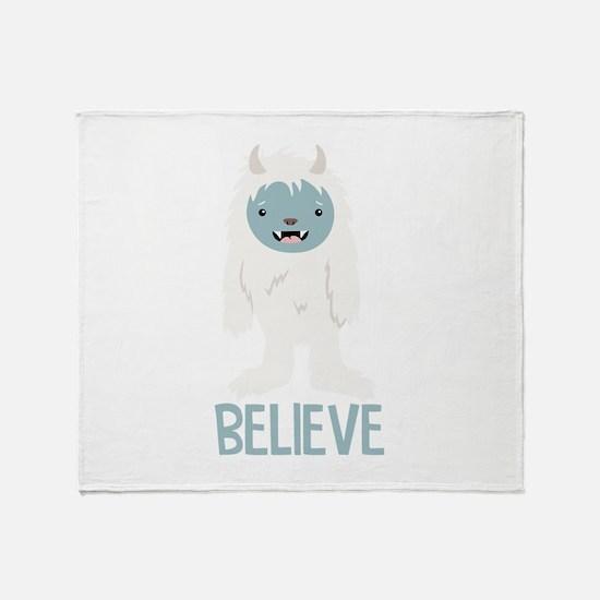 Believe In Yeti Throw Blanket