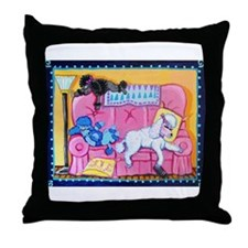 Sleepy poodle Throw Pillow