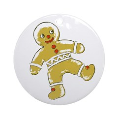 Victorian Gingerbread Man Ornament (Round)