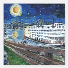"""River Boat on Mississipp Square Car Magnet 3"""" x 3"""""""
