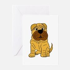 Funny Shar Pei Puppy Dog Greeting Cards