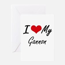I Love My Gannon Greeting Cards