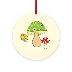 Magic Mushroom Art Ornament (Round)