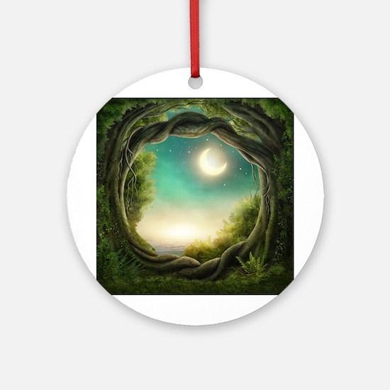 Magic Moon Tree Round Ornament