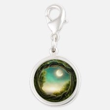 Magic Moon Tree Silver Round Charm